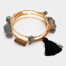 Load image into Gallery viewer, Magic Druzy Quartz & Thread Tassel Charm Stack Bracelet