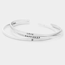 Load image into Gallery viewer, Peace + Love + Happiness Mantra Bangle Set
