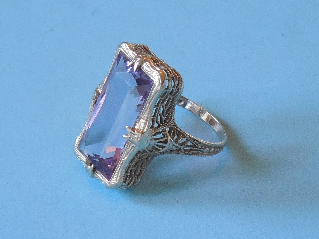 SOLD! 1900 1920 Large 14K White Gold Purple Amethyst Filigree Ring Beautiful Color