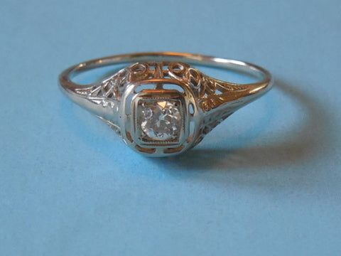 SOLD! 1900 1920 Antique Estate VTG White Gold 18K Diamond Filigree Ring Perfect Wedding Ring
