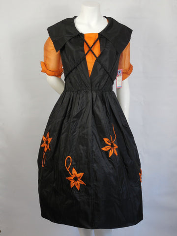 1920 1930 Vintage Art Deco Antique Authentic Rare Original Halloween Witch Costume Dress