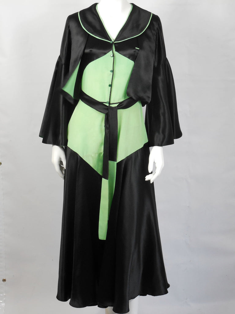 SOLD! 1920 1930 Black and Chartreuse Green Beach Pajamas Lounge Pajamas Amazing and Very Rare
