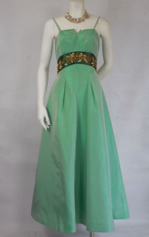 1950 1960 Vintage Emma Domb Emerald and Seafoam Green Gown with Bead Details