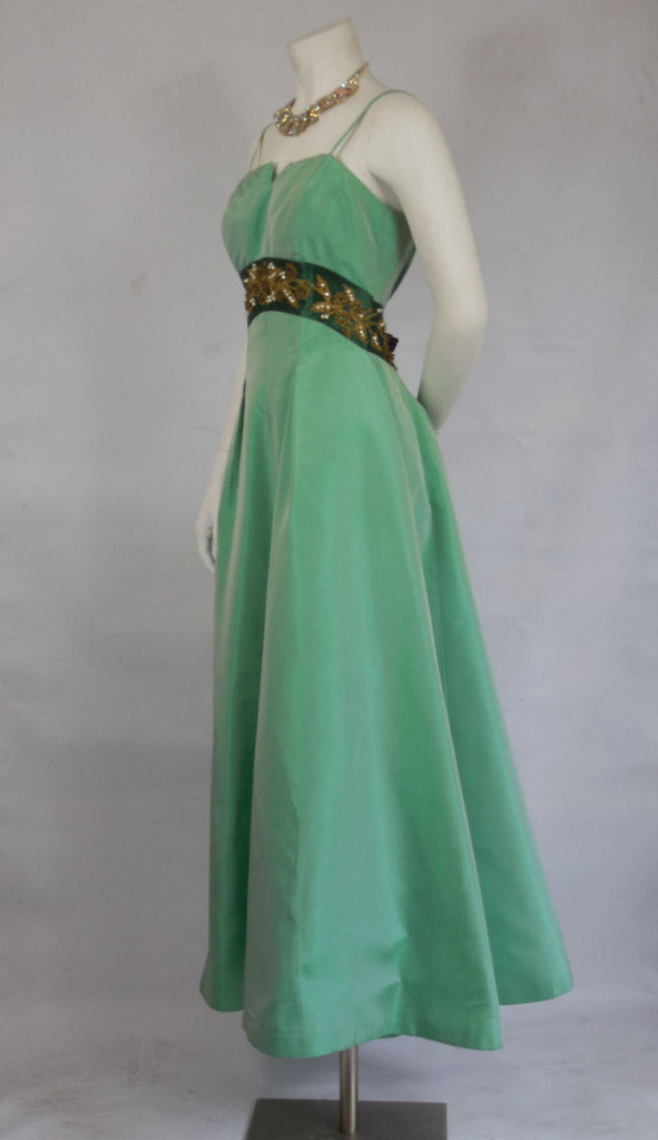 SOLD! 1950 1960 Vintage Emma Domb Emerald and Seafoam Green Gown ...