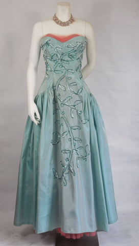 1950 Vintage Sky Blue Taffeta and Coral Tulle Gown with Sequins