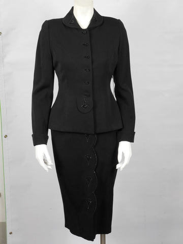 1950 Vintage Black Wool Gabardine Suit with Bead Work Embellishments