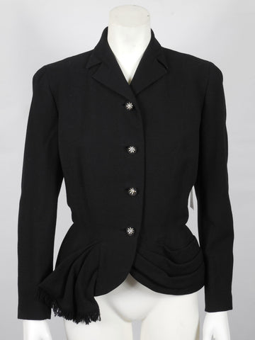 1950 Rich Black Soft Wool Jacket with Rhinestone Buttons