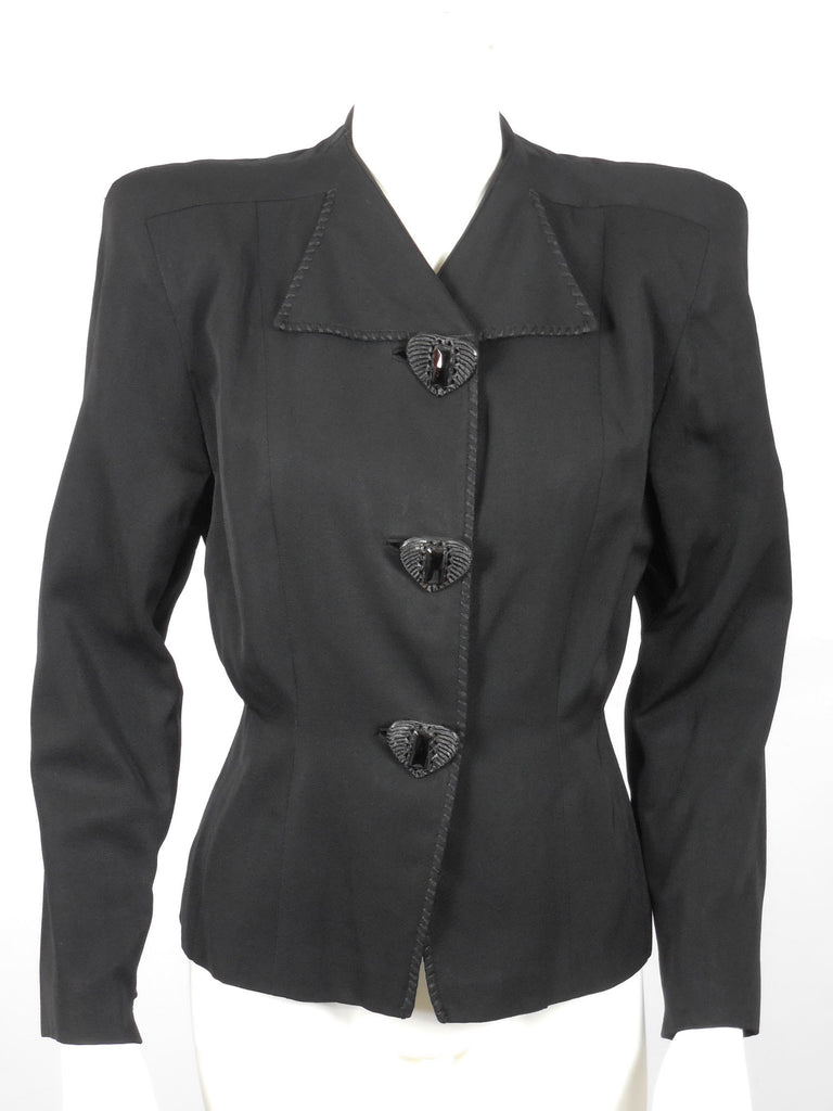 1940 1950 Rich Black Wool Gabardine Jacket with Large Black Plastic Bakelite Jet Buttons