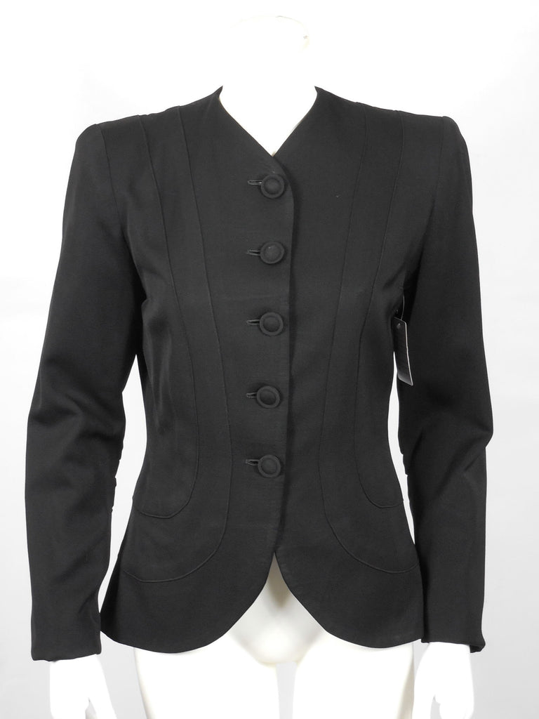 1940 1950 Rich Black Wool Gabardine Jacket with Slight Train and Beautiful Stitch Work Design