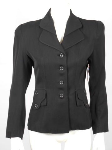1940 1950 Rich Black Wool Gabardine Jacket Double Collar and Faux Accent Flap Pockets