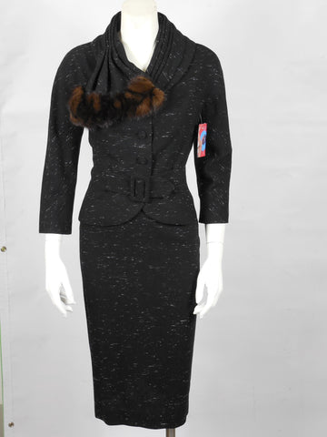SOLD! 1950 Vintage Lilli Ann Black and White Speckle Suit with Mink Fur Accent
