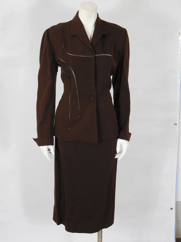 1946 1947 Vintage Lilli Ann Chocolate Brown Wool Gabardine Suit Perfect