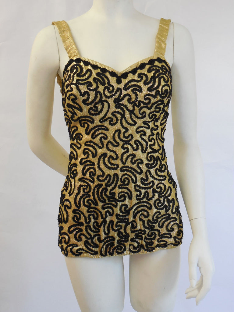SOLD! 1940's 1950's Vintage Original Tobi Gold Lame' Sweetheart Bust Line Bathing Suit Swimsuit Like New