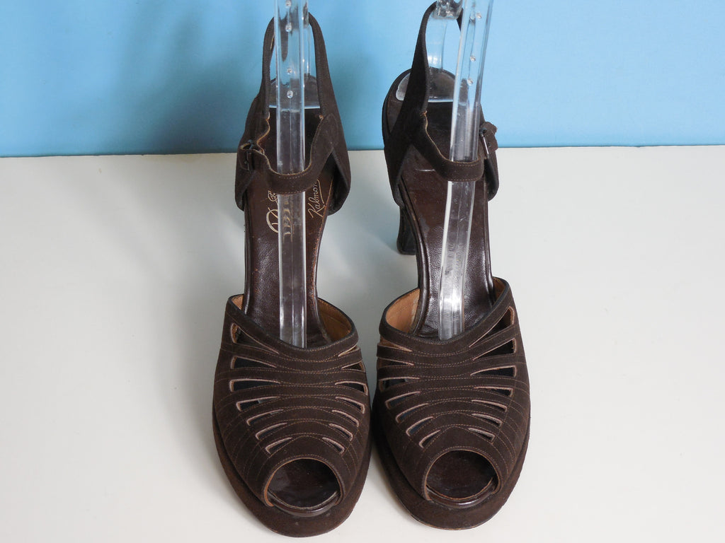 1940'S Vintage Brown Leather Suede Platform Open Toed Heels Shoes Size 9