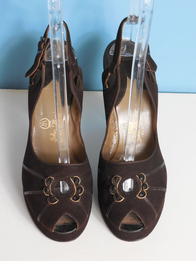 SOLD! RESERVED 1940'S Vintage Brown Leather Suede Platform Open Toed Sling Back Heels Size 8 1/2