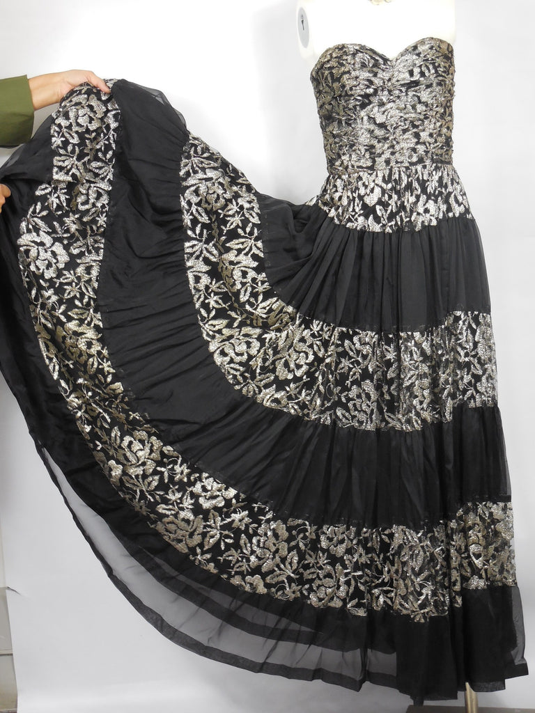 SOLD! 1940 Black Chiffon and Silver Lame Gown Gorgeous