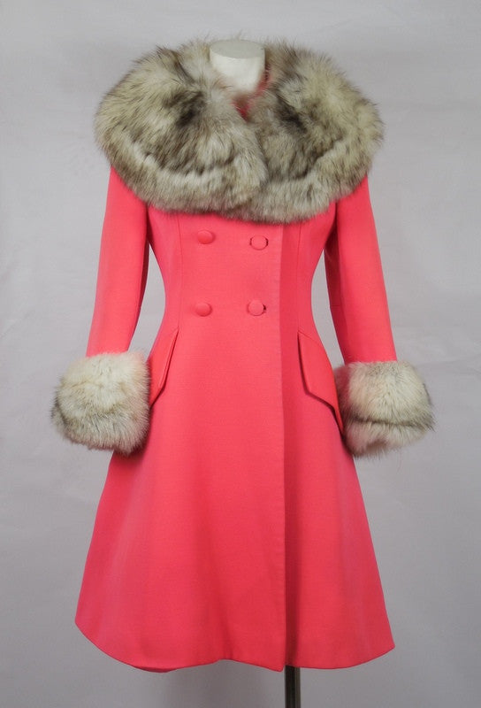 SOLD! 1960 Lilli Ann Mod Fuchsia Pink Coat with Full Fox Fur Collar and Cuffs