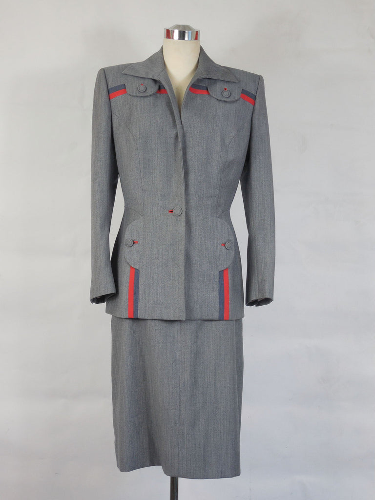 SOLD! 1940 to Early 1950 Vintage Lilli Ann Gray Wool Gabardine Suit With Red & Blue Trim Perfect