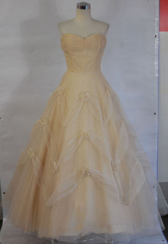 SOLD! 1940 Vintage Champagne Peach Tulle Wedding Evening Gown with Sequins & Veil