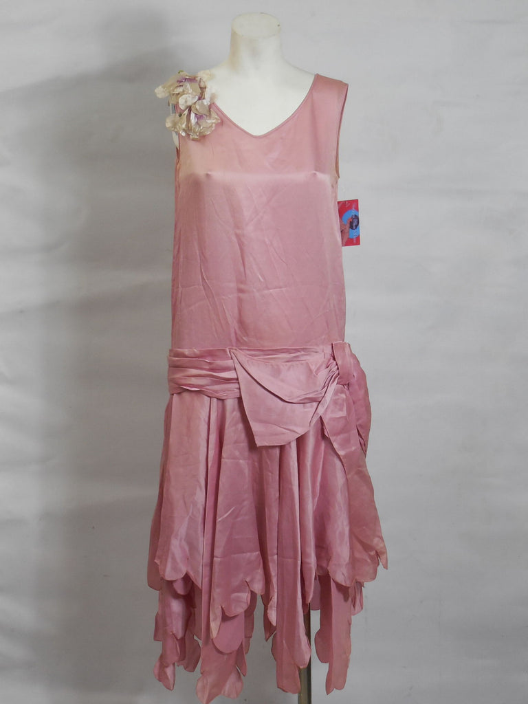 1920s Art Deco Vintage Rose Pink Silk Satin Dress