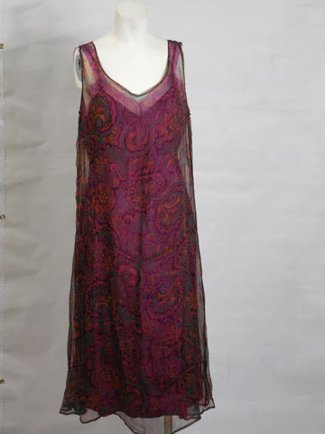 1920s Vintage Fuchsia and Purple Chiffon Paisley Pattern Sheath Dress