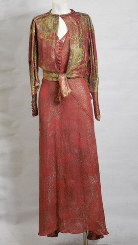 SOLD! 1930s Art Deco Vintage Rose Pink Silver & Gold Lame' Gown with Matching Bolero Jacket