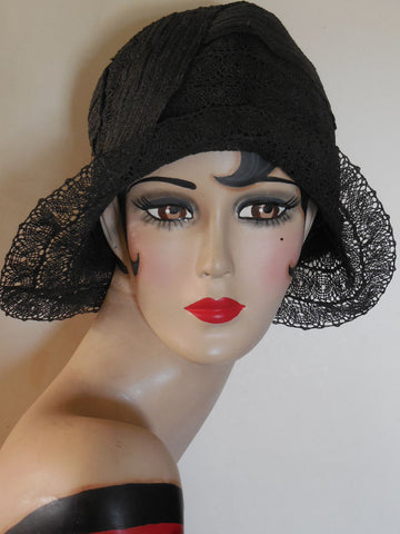 SOLD! Vintage 1920 Black Lace Large Size Cloche Perfect
