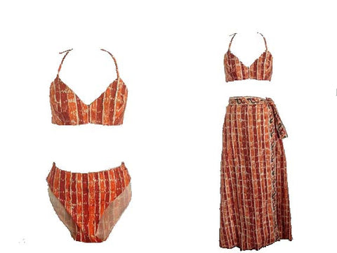 1950 1960 Vintage Deadstock Joan Arkin Dead Stock Tiki Hawaiian Bikini and Sarong Playwear