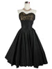 SOLD! 1950's Vintage Black Prom Dress with Lace Shelf Bust