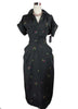 SOLD! 1950's Vintage Black Silk Day Dress with Flowers