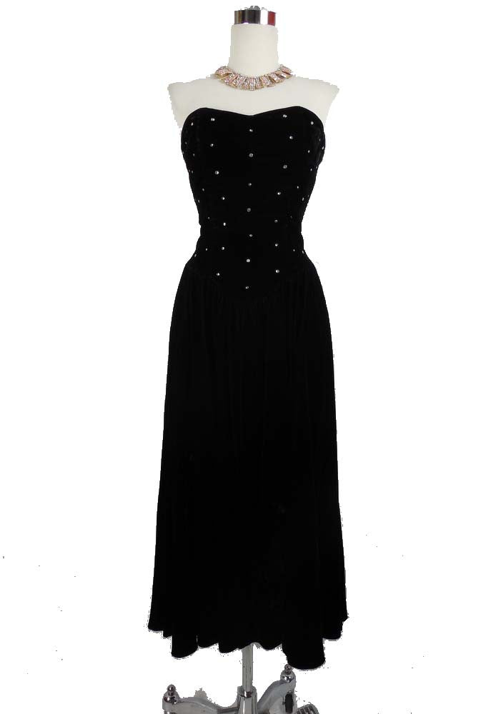 SOLD! 1980's Vintage Black Velvet Cocktail Dress with Bolero by Ellyn