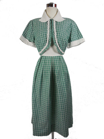 1950 Vintage Green Checked Toby Lane Day Dress with Jacket