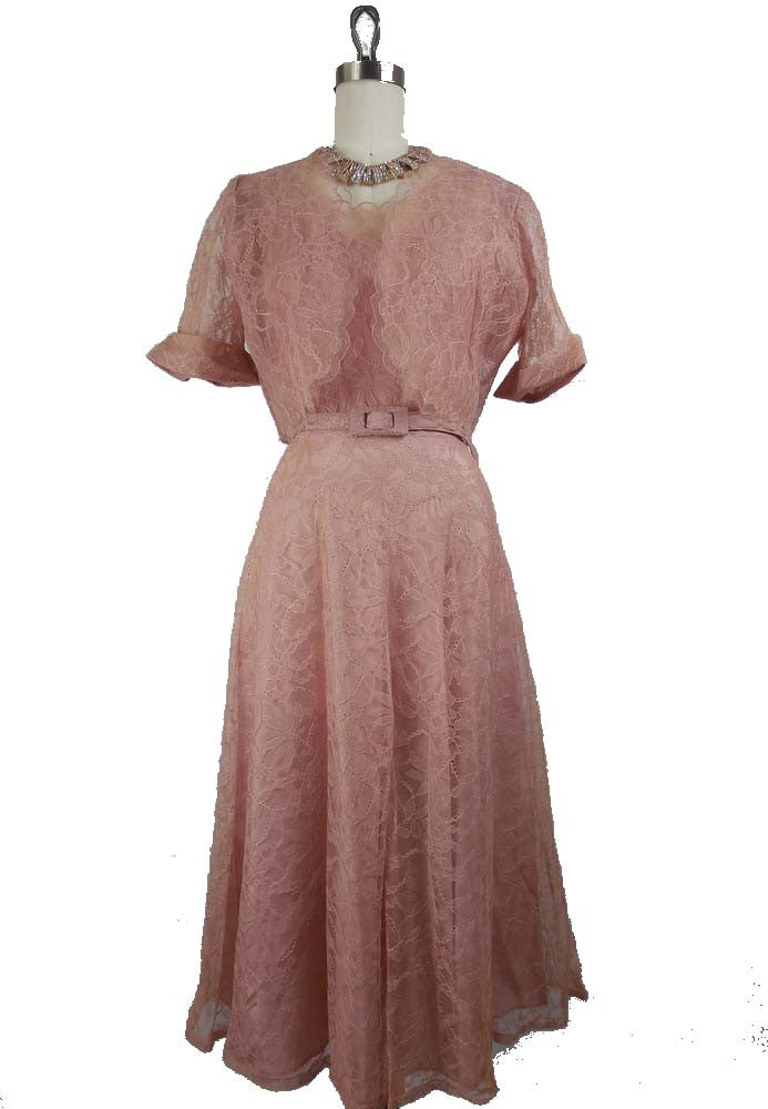 SOLD! 1950s Vintage Blush Pink Lace Day Dress with Bolero by Baerbro Large