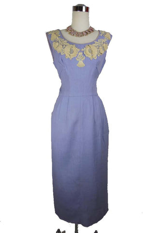 1950's Vintage Lavender Wiggle Dress with Lace Detail