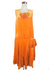 SOLD! 1920s Vintage Orange velvet Flapper Dress with Large Flower