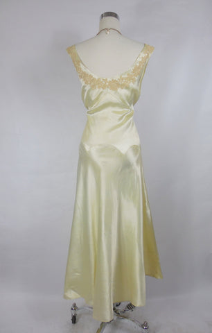 1930's Vintage Cream Silk Satin Evening Gown with Lace