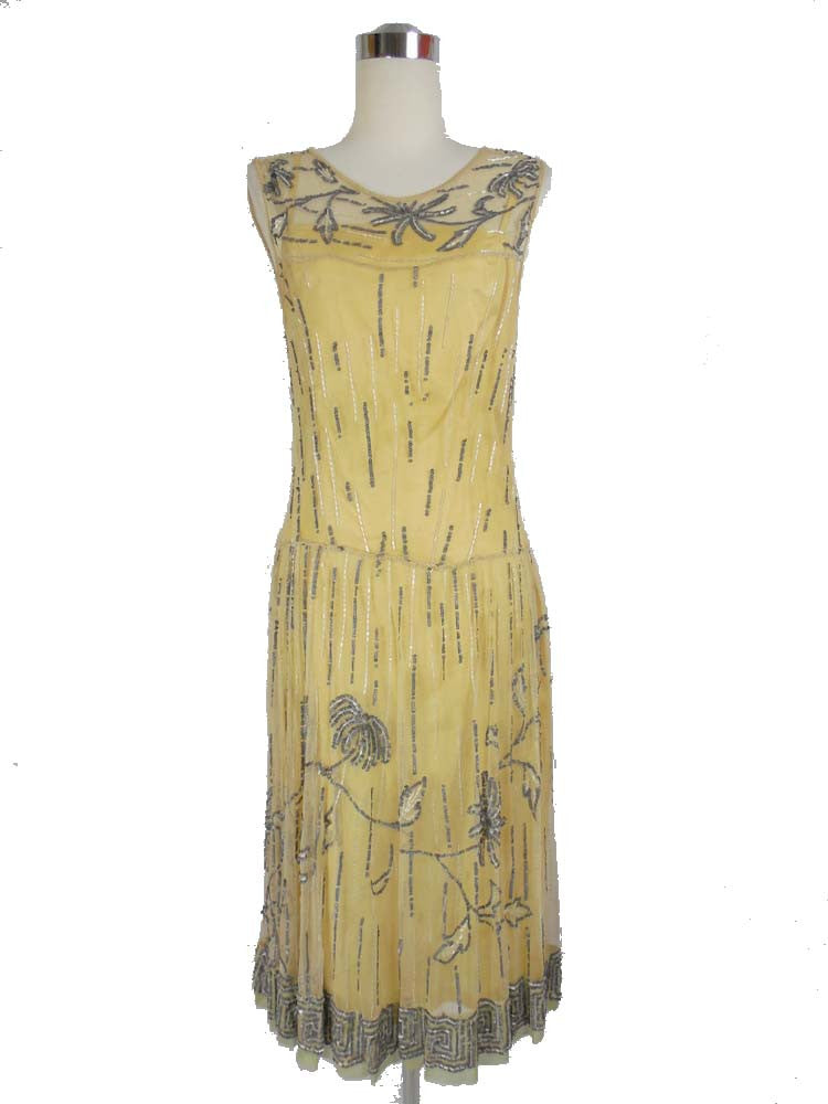 SOLD! 1920's Yellow and Blue Beaded Flapper Dress