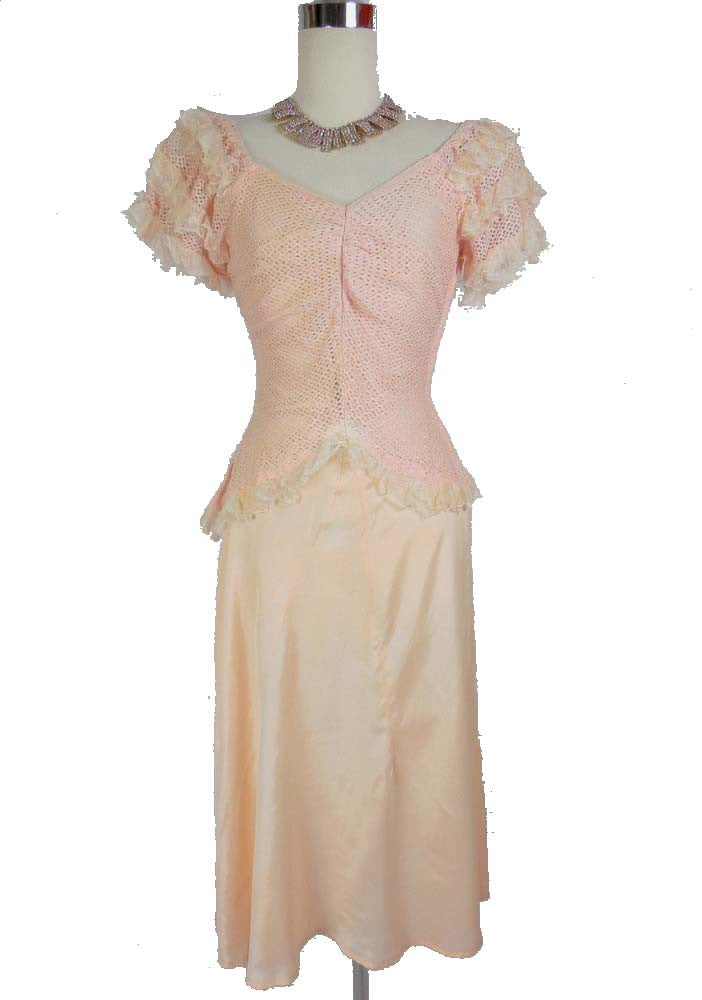 RESERVED 1920 1930 Vintage Pink Knit and Satin Party Dress
