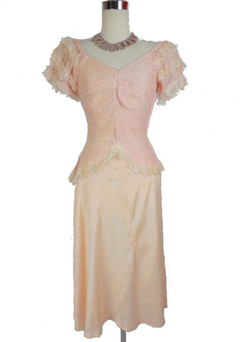 1920 1930 Vintage Pink Knit and Satin Party Dress