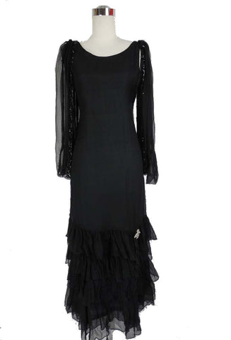 1920's Vintage Black Chiffon Dress with Beads and Ruffles