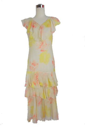 1920's Vintage Yellow and Pink Floral Dress with Ruffles