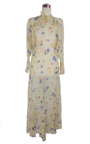 SOLD! 1930's Vintage White Chiffon Floral Long Sleeve Day Dress