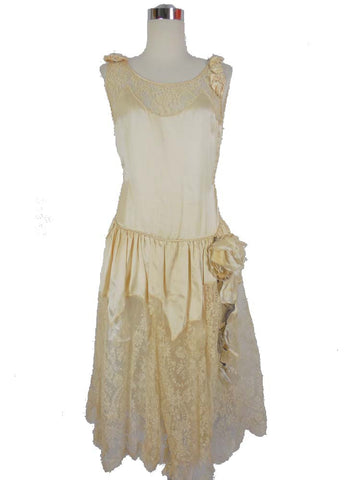 SOLD! 1920's Vintage Cream Satin and Lace Wedding Dress with Fabric Flowers