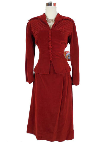 SOLD! 1940's 1950's Vintage Red Velveteen Suit