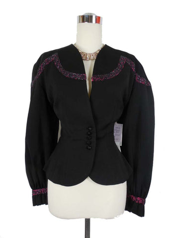 1940's Vintage Black Gabardine Suit Jacket with Pink Beaded Ribbon By Chas. Kupersmith