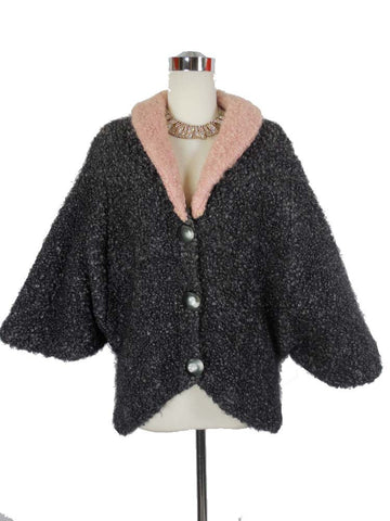 1950's Vintage Gray and Pink Curly Lambswool Jacket