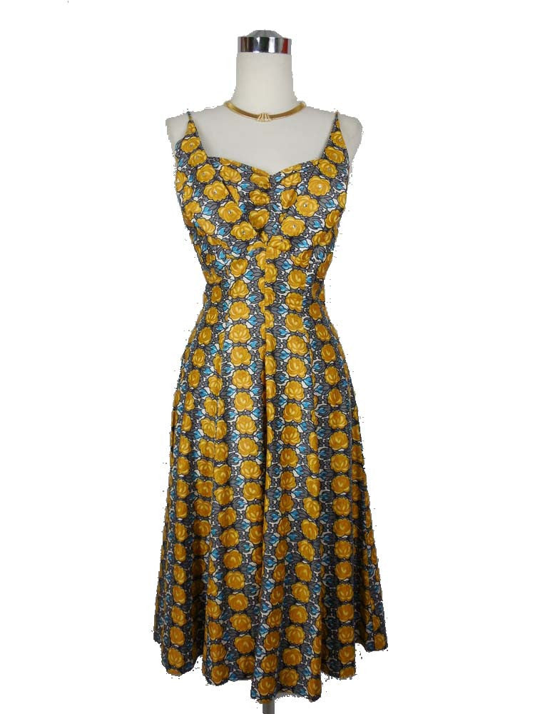 1950's Vintage Dead Stock Dyane Yellow and Blue Floral Dress with Jacket