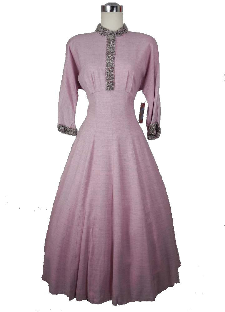 SOLD! 1950's Vintage Pink and Gray Curly Lambs Wool Deadstock Dress