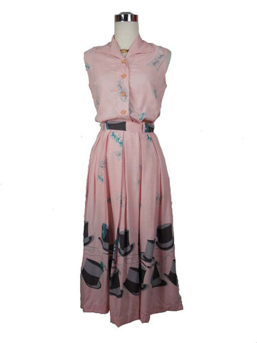 SOLD! 1950's Vintage Pink Skirt and Blouse Set with Top hat and Horse and Buggy Print