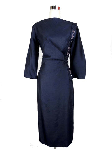SOLD! 1950's /1960's Navy Blue Wiggle Dress with Bead Work
